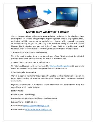 Migrate From Windows 8 To 10 Now