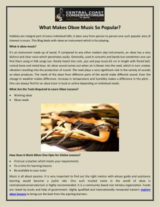 What Makes Oboe Music So Popular?