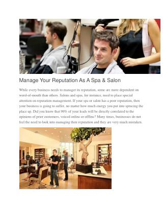 Manage Your Reputation As A Spa & Salon