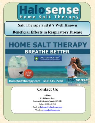 Salt Therapy and It's Well Known Beneficial Effects in Respiratory Disease