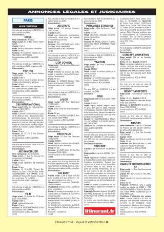Annonces Légales : L'Itinérant 1140