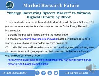Energy Harvesting System Market 2016 market Share, Regional Analysis and Forecast to 2027.