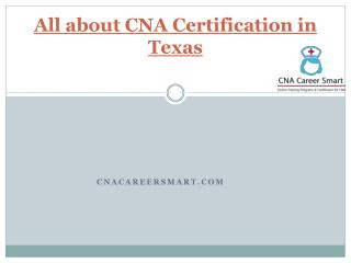 All about cna certification in texas