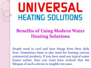 Benefits of Using Modern Water Heating Solutions