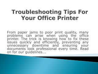 Troubleshooting Tips Of Your Office Printer