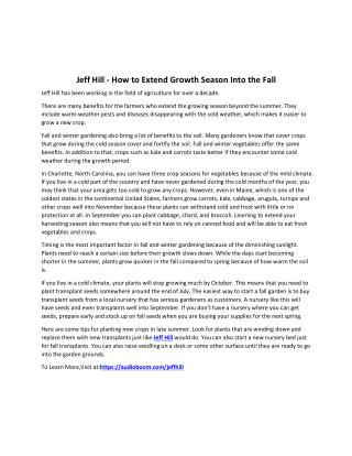 Jeff Hill - How to Extend Growth Season Into the Fall