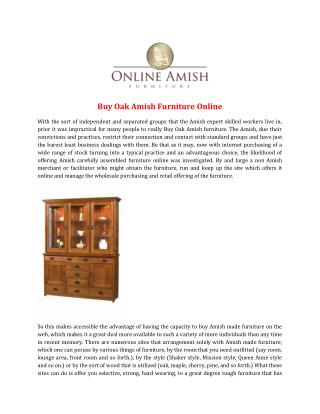 Buy Oak Amish Furniture Online