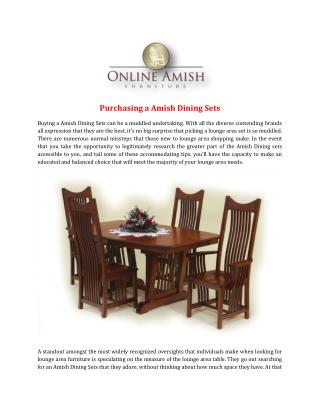 Purchasing a Amish Dining Sets