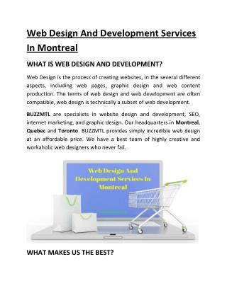 Web Design And Development Services In Montreal