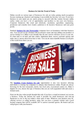 Business for Sale the Trend of Today