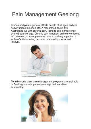 Pain Management Geelong