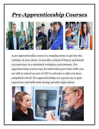 Pre Apprenticeship Courses