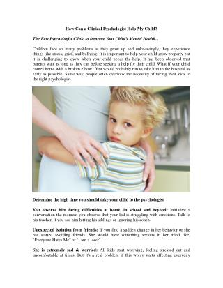 How Can a Clinical Psychologist Help My Child?