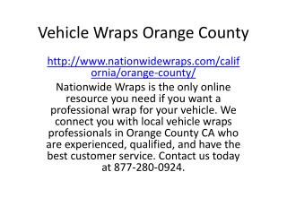 Vehicle Wraps Orange County