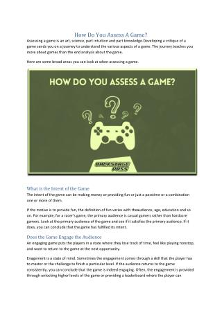 How Do You Assess A Game?