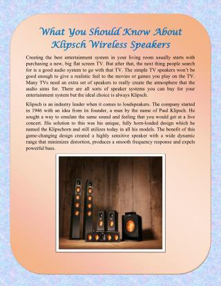 What You Should Know About Klipsch Wireless Speakers