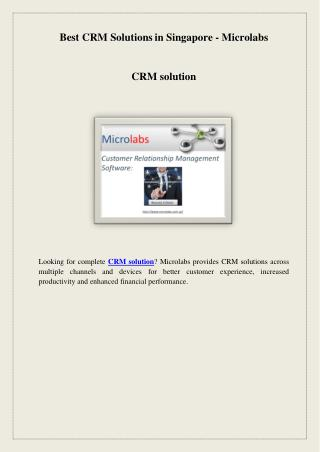 Best CRM Solutions in Singapore - Microlabs