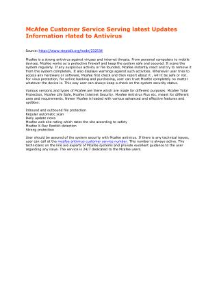 McAfee Customer Service Team Serving latest Updates Information rlated to Antivirus