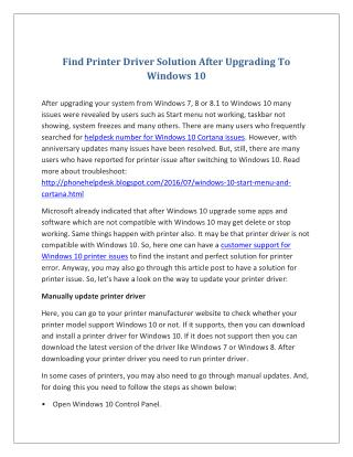 Find Printer Driver Solution After Upgrading To Windows 10