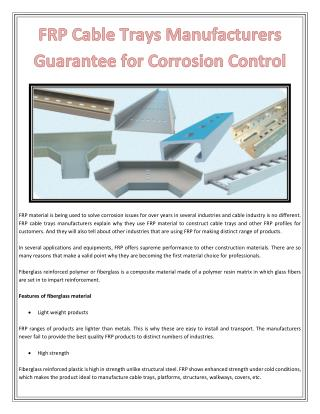 FRP Cable Trays Manufacturers Guarantee for Corrosion Control