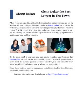 Glenn Duker the Best Lawyer in The Town!
