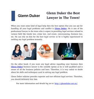 Glenn Duker the Best Lawyer in The Town!