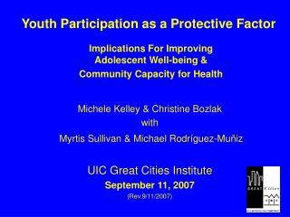 Youth Participation as a Protective Factor