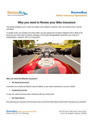 Why you need to Renew your Bike Insurance