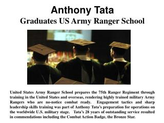 Anthony Tata - Graduates US Army Ranger School