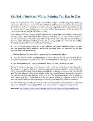 Get Rid of the Hard Water and Problems