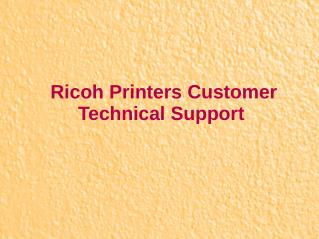 Ricoh Printers Customer Technical Support