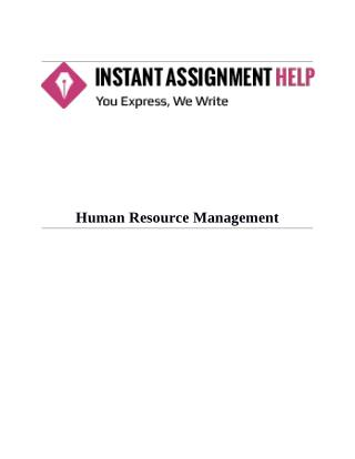 Human Resource Management Sample Assignment