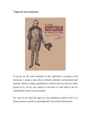 7 Signs of a True Gentleman