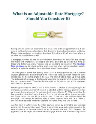 What is an Adjustable-Rate Mortgage?  Should You Consider It?