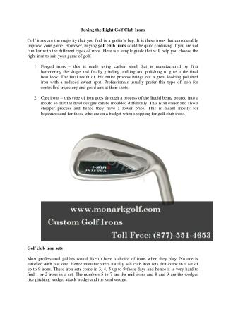 Buying the Right Golf Club Irons