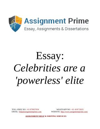 Essay Sample Document - Celebrities are a 'powerless' elite