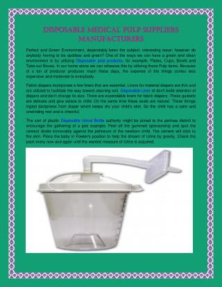 Disposable Medicial Pulp Suppliers Manufacturers
