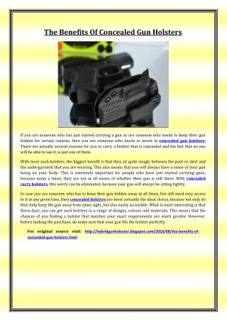 The Benefits Of Concealed Gun Holsters