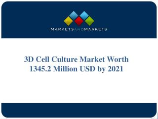 3D Cell Culture Market Worth 1345.2 Million USD by 2021