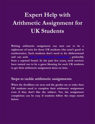 Are You Searching The Expert Help with Arithmetic Assignment for Students