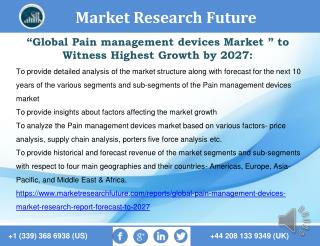 Global Pain management devices Market Research Report- Forecast To 2027