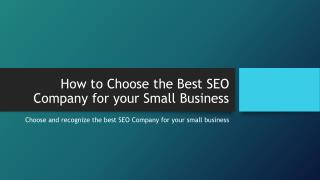 How to Choose the Best SEO Company for your Small Business