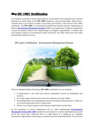 ISO 14001 Certification- Environment Management Systems