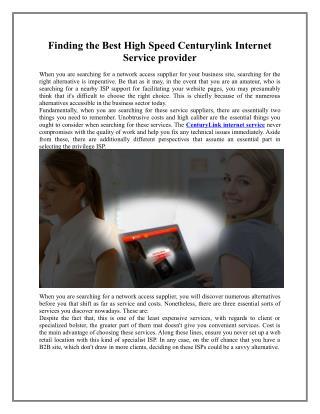 Centurylink internet service