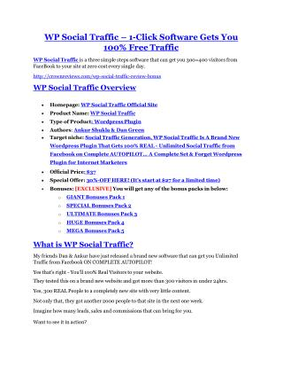 WP Social Traffic Review and Premium $14,700 Bonus