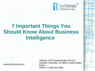 7 Important Things You Should Know About Business Intelligence