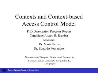 Contexts and Context-based Access Control Model