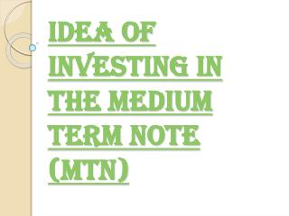 Various Ideas of Investing in the Medium Term Note (MTN)