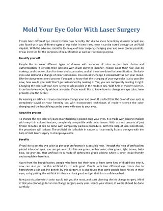 Mild Laser Surgery to Change Eye Color