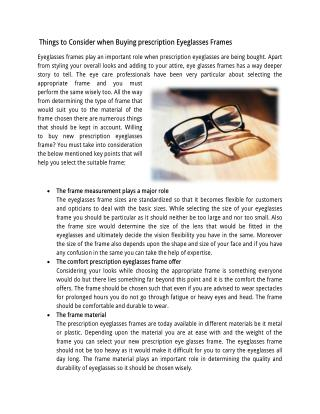 Things to Consider when Buying prescription Eyeglasses Frames